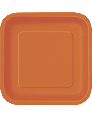 16 square orange dessert plate (18 cm) - Basic Line Colours