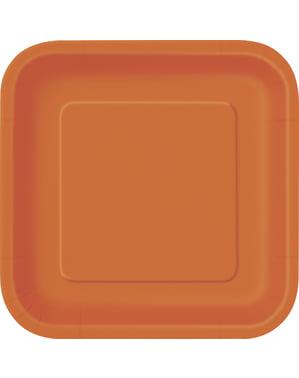 16 vierkante oranje dessertborde (18 cm) - Basis Kleuren Lijn