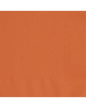 50 grandes Serviettes en papier oranges - Gamme couleur unie