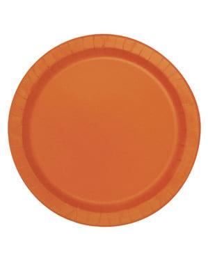 20 pratos de sobremesa laranja (18 cm) - Linha Cores Básicas