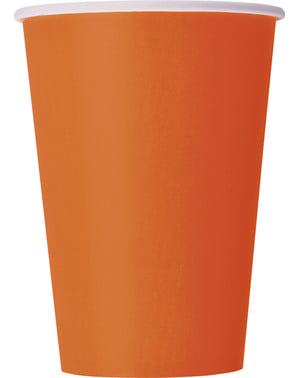 Zestaw 10 dużych pomarańczowych kubków - Linia kolorów podstawowych