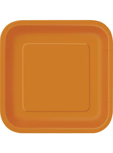 14 assiettes carrées grandes oranges - Gamme couleur unie