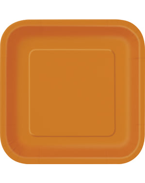 14 pratos quadrados grandes cor de laranj (23 cm) - Linha Cores Básicas