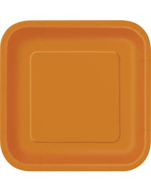 Zestaw 14 dużych pomarańczowych kwadratowych talerzy - Linia kolorów podstawowych