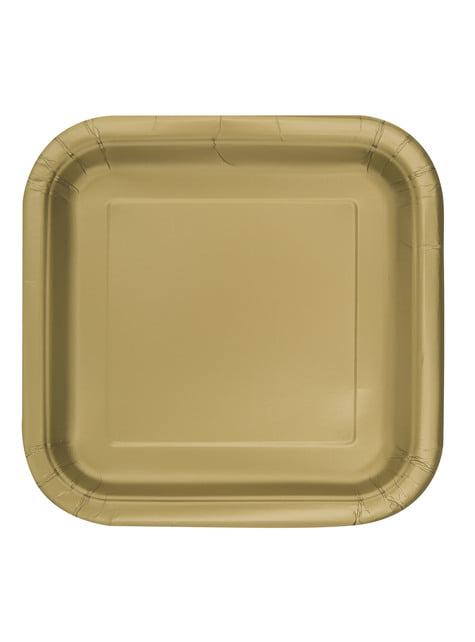 16 square gold dessert plate (18 cm) - Basic Line Colours