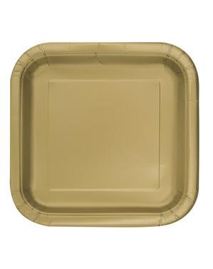 16 pratos quadrados de sobremesa dourado (18 cm) - Linha Cores Básicas