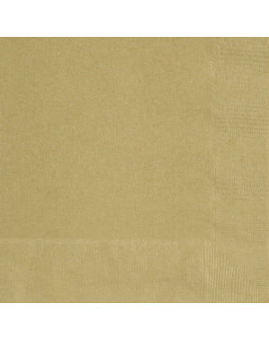 50 grandes Serviettes en papier dorées - Gamme couleur unie