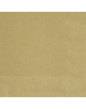 Set 50 stora servetter guldiga - Kollektion Basfärger