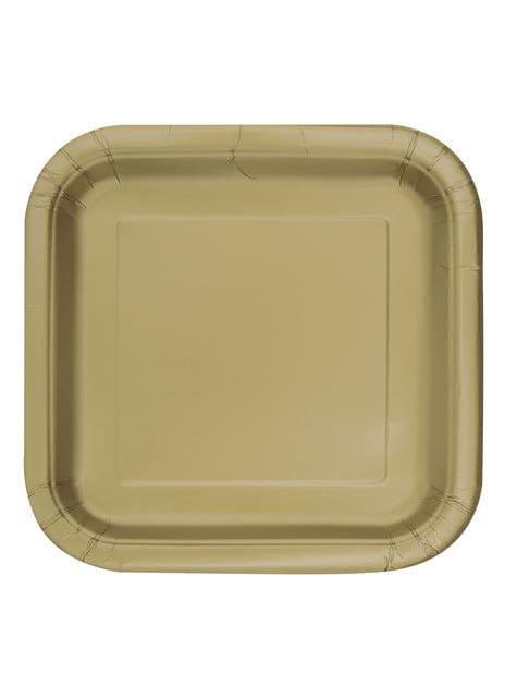 14 assiettes carrées dorées - Gamme couleur unie