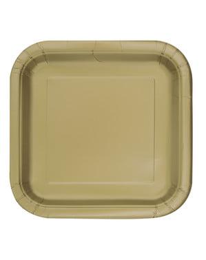 14 pratos quadrados dourado (23 cm) - Linha Cores Básicas