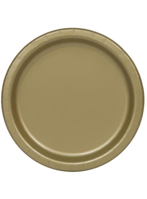 20 assiettes à dessert dorées - Gamme couleur unie