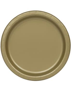 20 pratos de sobremesa dourado (18 cm) - Linha Cores Básicas