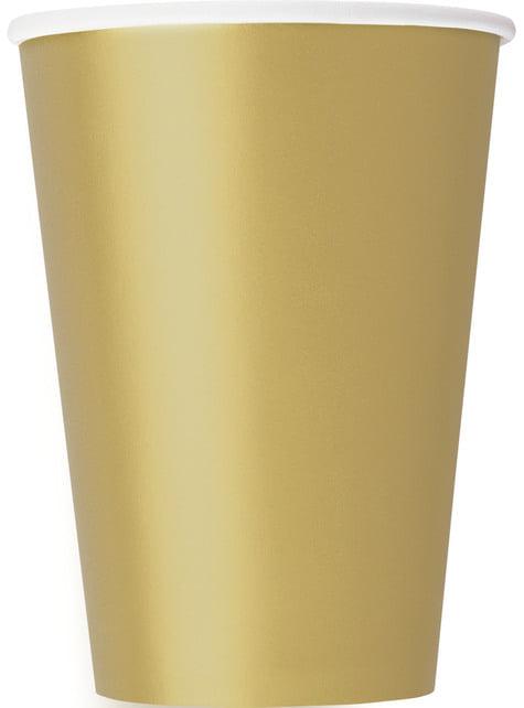 10 vasos grandes dorados - Línea Colores Básicos