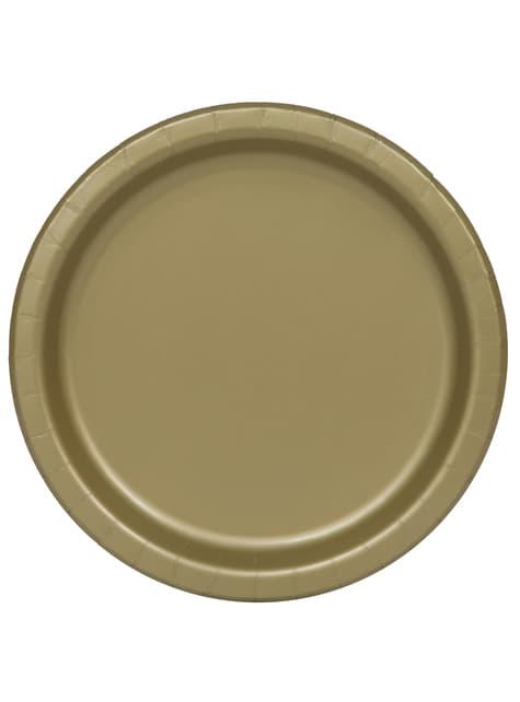 16 platos dorado (23 cm) - Línea Colores Básicos