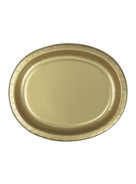 8 bandejas ovaladas doradas - Línea Colores Básicos