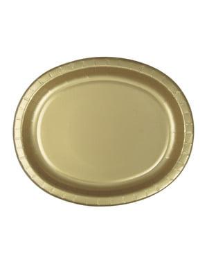 8 kpl kultaista soikeaa tarjotinta - Perusvärilinja