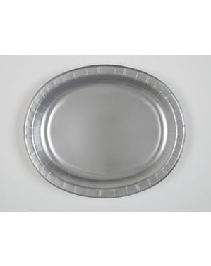 8 zilveren ovale dienbladen - Basis Kleuren Lijn