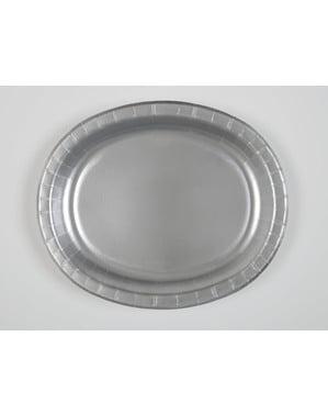 Sæt af 8 sølv ovale bakker - Basale farver linje