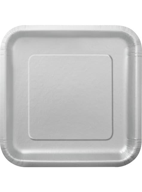 16 assiettes carrées à dessert argentées - Gamme couleur unie