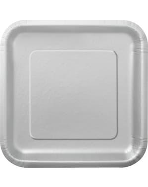 Sett med 16 firkantete sølvfarget dessert tallerkener - Basic Line Colours