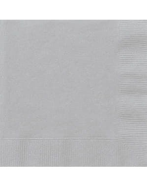 50 grandes Serviettes en papier argentées - Gamme couleur unie