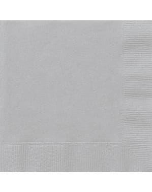 Zestaw 50 dużych srebrnych serwetek - Linia kolorów podstawowych