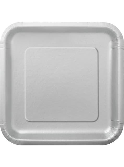 14 platos cuadrados plateados (23 cm) - Línea Colores Básicos