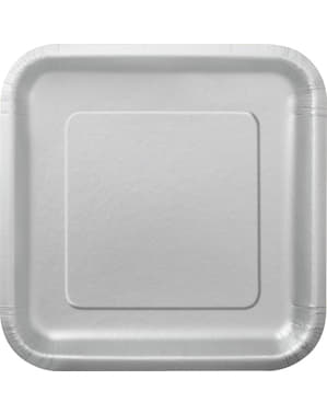 14 silver square plate (23 cm) - Basic Colours Line