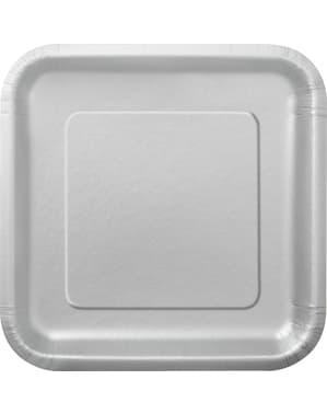 Zestaw 14 srebrnych kwadratowych talerzy - Linia kolorów podstawowych