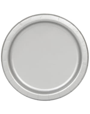 20 assiettes à dessert grises - Gamme couleur unie