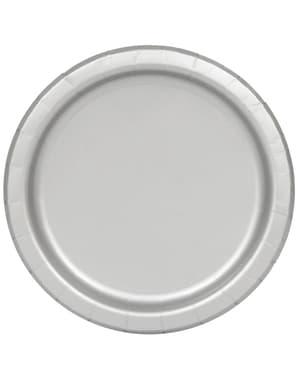 סט 20 צלחות קינוח אפורות - צבעי קו הבסיסי