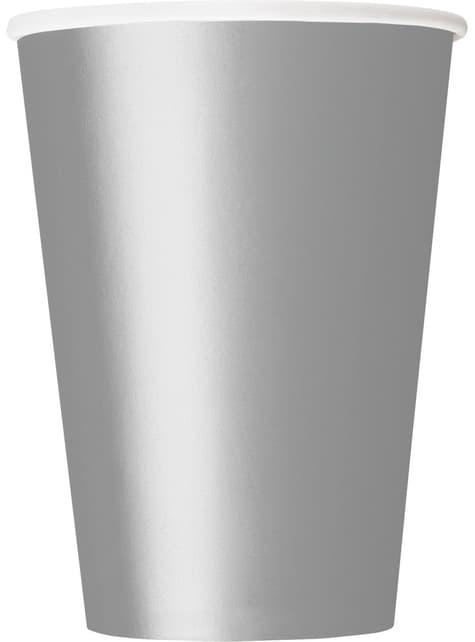 10 vasos grandes plateados- Línea Colores Básicos