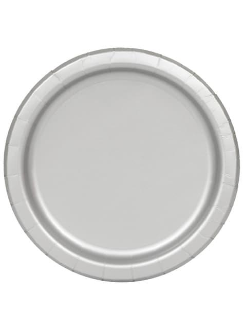 16 assiettes argentées - Gamme couleur unie