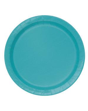 8 platos color aguamarina (23 cm) - Línea Colores Básicos