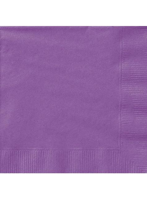 20 grandes Serviettes en papier violettes - Gamme couleur unie