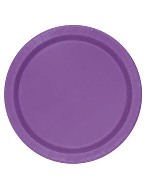 8本の紫色のデザートプレート - 基本的な線の色のセット