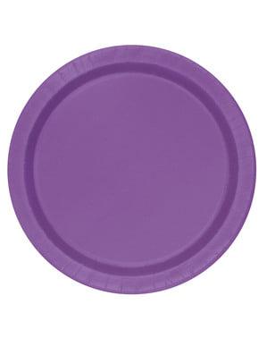 Zestaw 8 fioletowych talerzy - Linia kolorów podstawowych