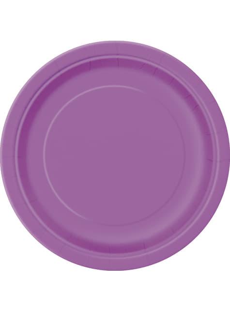 20 assiettes à dessert violettes - Gamme couleur unie