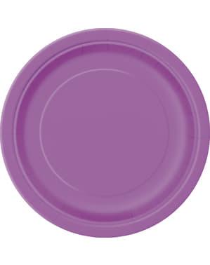 20 pratos de sobremesa roxo (18 cm) - Linha Cores Básicas