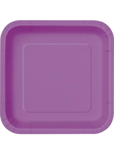 16 assiettes carrées à dessert violettes - Gamme couleur unie