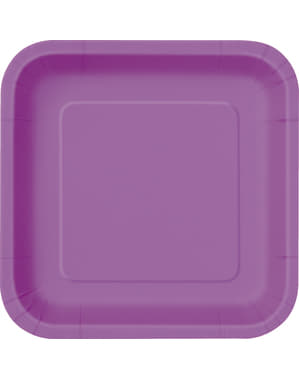 Sada 16 štvorcových fialových dezertných tanierov - farby základných čiar
