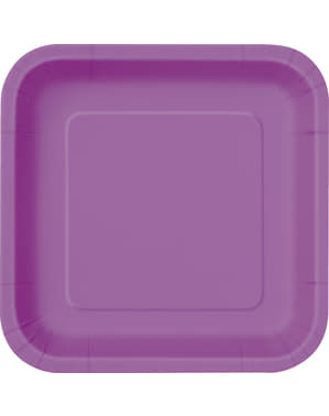 14 purple square plate (23 cm) - Basic Colours Line