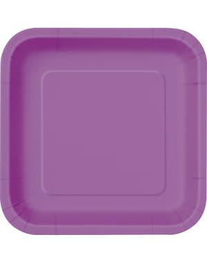 Sett med 14 lilla firkantede tallerkener - Grunnleggende Farger Kolleksjon