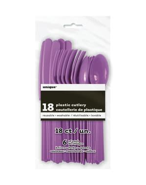 Zestaw fioletowych plastikowych sztućców - Linia kolorów podstawowych