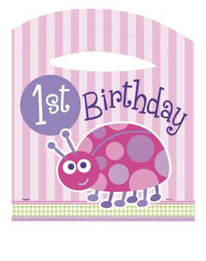 Pinkki leppäkerttu 1. syntymäpäivä setti