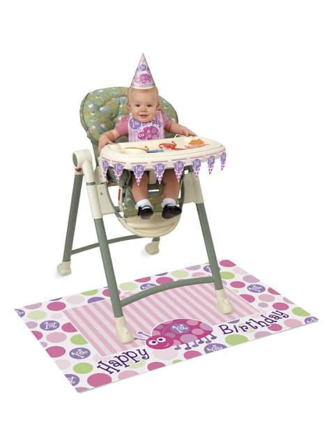 Set de 1º cumpleaños mariquita rosa
