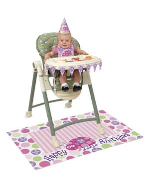 Zestaw różowych dekoracji z biedronką na 1. urodziny