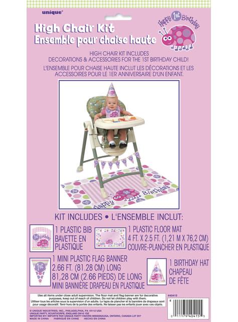 Set de 1º cumpleaños mariquita rosa - original