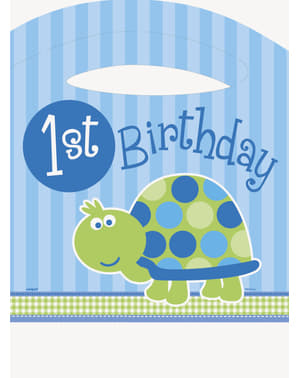 Zestaw niebieskich dekoracji z żółwiem na 1. urodziny