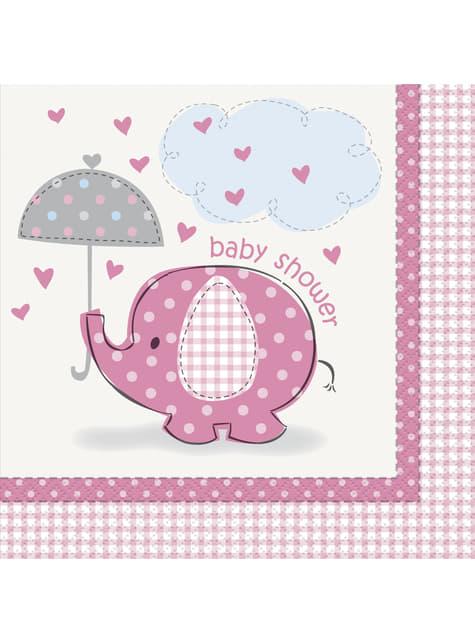 16 grandes serviettes roses - Umbrellaphants Pink